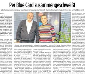 Per Blue Card zusammengeschweißt